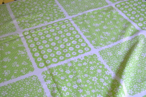 Vintage Tablecloth - Lime Green and White Patchwork Print - 72 inch Round