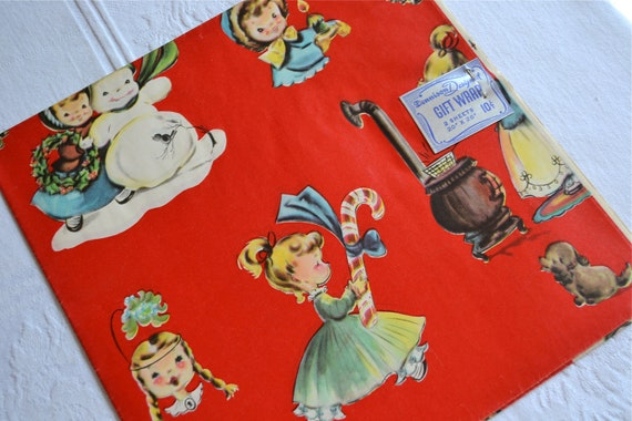 Vintage Christmas Wrapping Paper - Dennison Girl and Dog - Two Sheets NOS