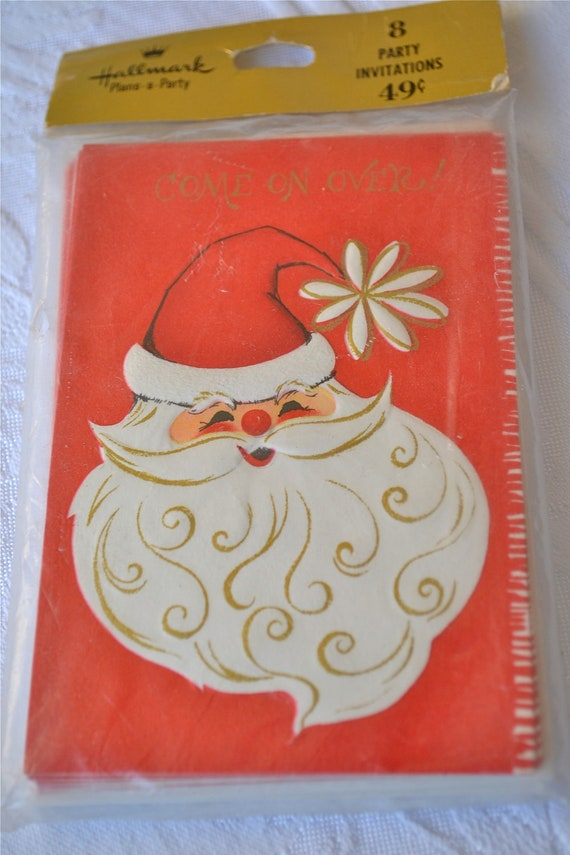 Vintage Santa Christmas Party Invitations by Hallmark - A Set of 8 Santa Cards