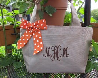 Monogrammed Khaki Insulated Womens Lunch Bag Box Cooler Personalized