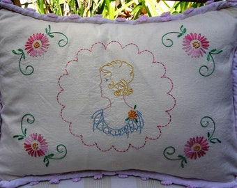 Vintage Hand Embroidered  Pillow / Woman in Profile