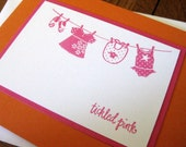 Tickled Pink with Little Girl Clothesline - Handmade Baby Girl Card