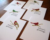 Season's Greetings with Glittering Birds holiday greeting cards - Set of 6