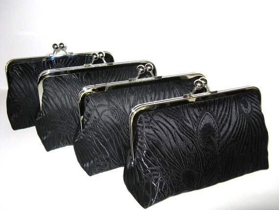 SALE 15% Off Peacock Clutches Set Of 4,Black Brocade Peacock Clutches,Bridesmaid Clutches,Bridal Accessories