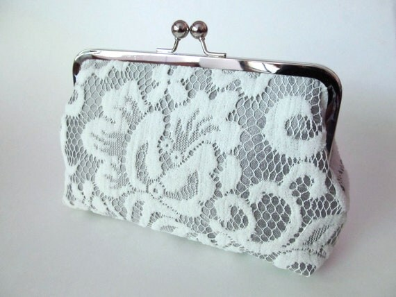 Silk And Lace Clutch-Ivory-Silver-Wedding Clutch-Clutch Purse-Bridal Clutch-Bags And Purses