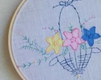 Fiber wall art Vintage linen Applique plus embroidery Flower basket Circa 1940 Romantic cottage chic