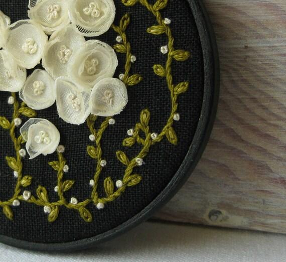 Secret Garden - White Flowers on Black Linen Embroidered Wall Decoration