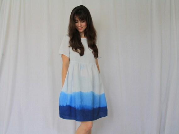 SALE Handmade Blue Dip Dye Linen Dress