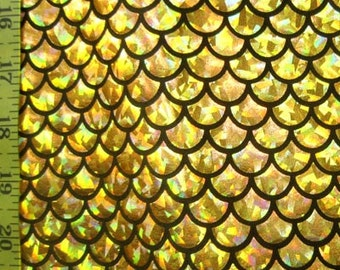 Gold Large Fish Scale on Black  Lycra Fabric