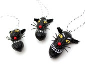 3 Black Cat Ornaments - whimsical folk art, hand painted peanuts