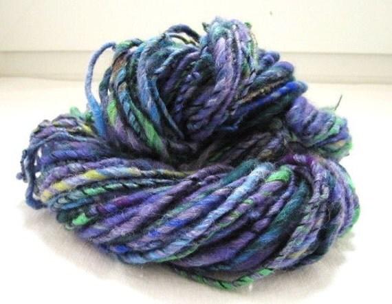 Yarn Butterfly Purple Multi Color yarn Fiber Blend Handspun 80yards
