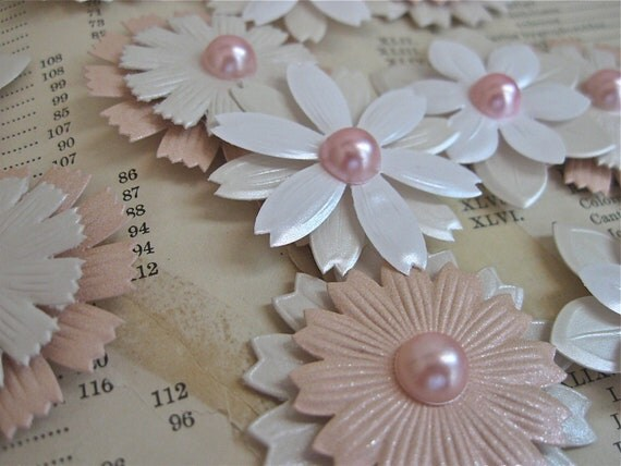 flower stickers, embossed pearlized dimensional stickers pink pearls paper wedding