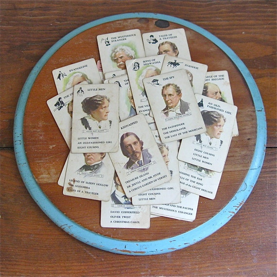 vintage author playing cards, book lovers, playing cards, card game, bookworm game,