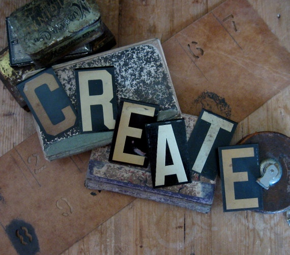 create, vintage letters, vintage metal letters, sign letters, black tan white, artist sign, crafters sign