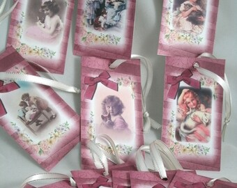 Victorian Style Children with cats Gift Tags