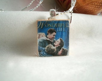 It's a wonderful Life Scrabble Tile Pendant Necklace on Faceted Chain with Holly Earrings