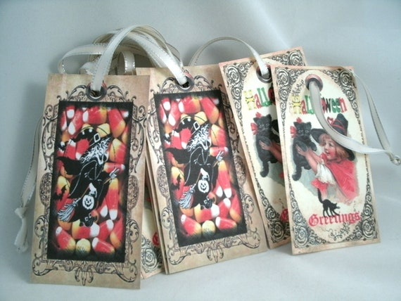 Candy Corn and Kitty Cat Witch Halloween Tags Autumn Tags with satin with edged ribbons