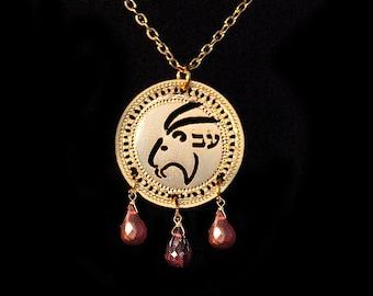 Zodiac Capricorn necklace, Gold necklace, Birthstone Garnet necklace, Zodiac jewelry, Horoscope necklace, Kabbalah jewelry, Garnet necklace