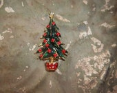 Vintage Christmas Tree Brooch adorned with Red Stones  Sale sale sale