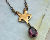 fox necklace, grape necklace, FOX and GRAPE, antiue brass fox necklace with amethyst color glass drop
