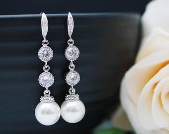 Wedding Dangle Earrings Bridal Jewelry Bridal Earrings Bridesmaid Earrings Crystal White Swarovski Pearls and Cubic Zirconia Connectors