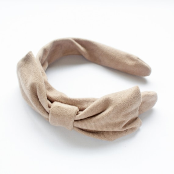 Suede Headband in Beige with Bow FREE ITEM