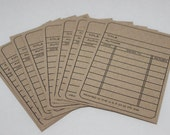 Kraft Library Cards - Handstamped - Set of 12