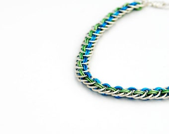 """Chainmaille Bracelet """"Blue and Green"""""""
