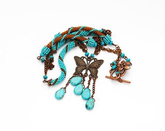 Turquoise And Copper Butterfly Long Necklace