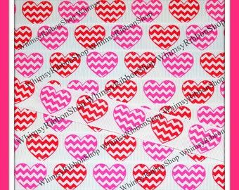 3 Yards 7/8 Valentines Girly Pink Red Chevy Hearts on GROSGRAIN Ribbon Hair Bows Sewing Chevron stripes sewing scrap awareness