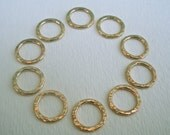 Handmade Supplies Ten 16g Hammer Textured 14K Gold Filled Links (Medium) For DIY jewelry, beading, tags