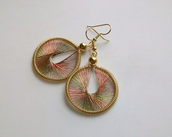 Christmas Sparkler Handwoven Thread Earrings