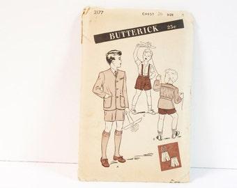 Vintage 1940s Butterick Boy's Two Piece Cardigan Suit Size 8