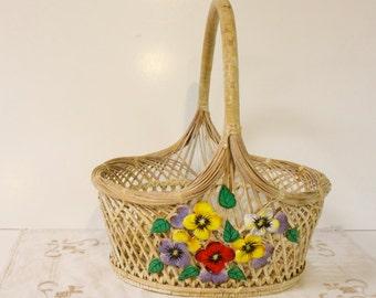 Vintage Floral Wicker Basket