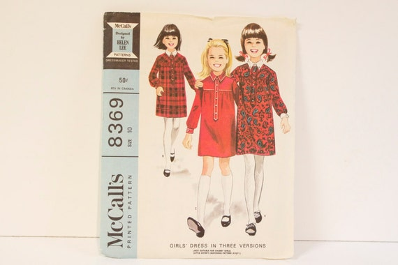 Vintage 1960s McCalls Girls Dress In Three Versions Pattern 8369 Size 10