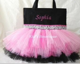 Monogrammed Tutu Bag - Pink and Black Zebra Ribbon Trim Dance Tutu Tote Bag