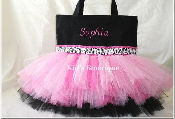 Monogrammed Tutu Bag - Pink and Black Zebra Ribbon Trim Dance Tutu Tote Bag