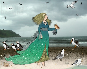 Queen of the Shore, Atlantic Ocean, seaside decor, beach house art, puffin illustration, seagull, pelican, ocean birds, landscape photo