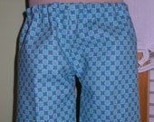 Boys Turquoise Blue Geometric Pants - Waldorf Doll Clothes - 15 Inch Bambo Size - B
