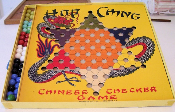 CHINESE Checkers Vintage HOP CHING Game in Box with Original Marbles from Alley Agate Co.