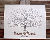 X-Large Fingerprint Pohutakawa Tree Wedding Guest book, Hand Drawn in ink, includes 2 ink pads and pen