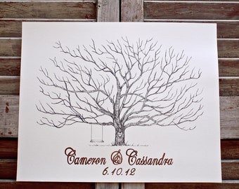 X-Small Hand Drawn Fingerprint Tree Wedding Guest book, in ink, includes 2 ink pads and pen, Pohutakawa tree, New Zealand Christmas Tree.