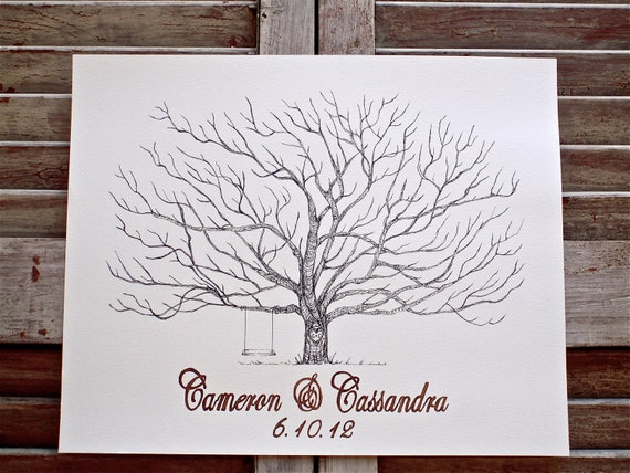 Small Fingerprint Pohutakawa Tree Wedding Guest book, Hand Drawn in ink, includes 2 ink pads and pen