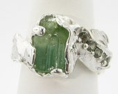 New Growth: toumaline and sapphire ring in shades of green