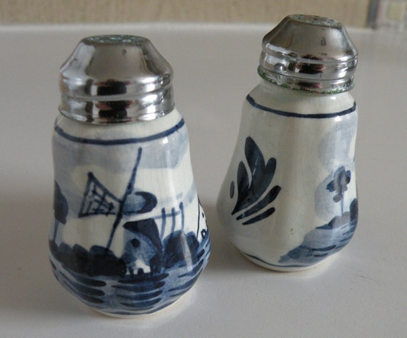 Delft Salt And Pepper Shakers Vintage Blue And White By