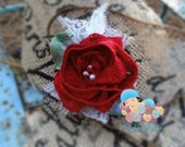 Red Winter Rose Baby Girl Newborn Headband, Valentines Photography Prop