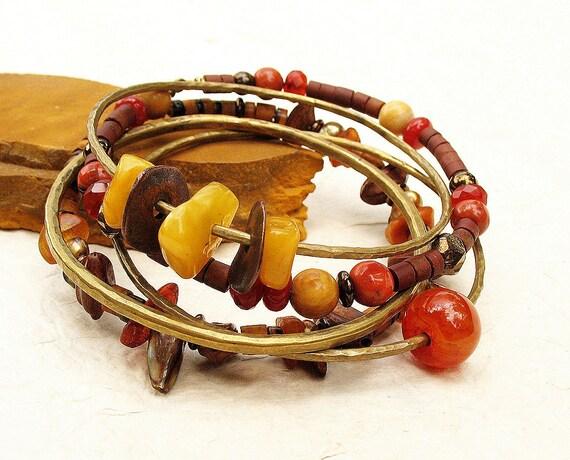 Gypsy Bangle Stack Bracelet Set Earthy Yellow Amber Orange Brown Hammered Bronze Metal Beaded Set of Five