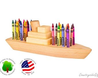 Crayon Holder - Boat Crayon Holder- Natural & Organic Wooden Boat 24ct Crayon Holder