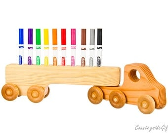 Marker Holder - Wooden  Truck  Colored Marker Holder - Handcrafted Natural & Organic Wooden Marker Holder  - Wooden Holder for 10 Markers