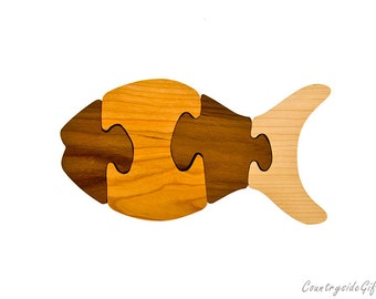 Wooden Puzzle - Natural & Organic Hardwood Fish Puzzle - Wood Toy, Wood Puzzle, Handmade, Kids, Children, Eco-Friendly
